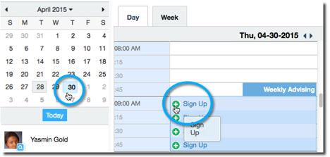 calendar and part two of signing up