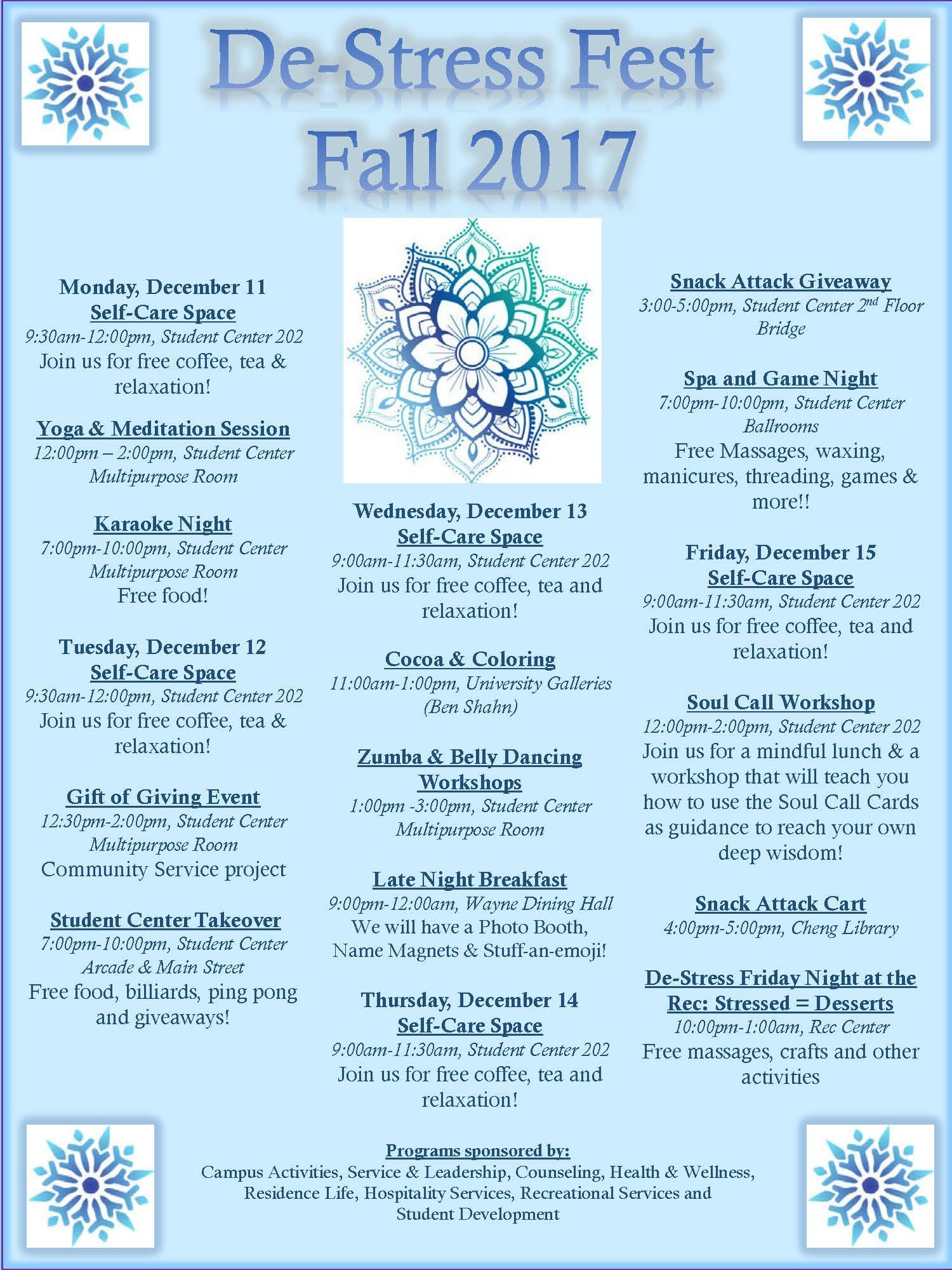 DeStress Fest Calendar 2017 12-11 to 12-15