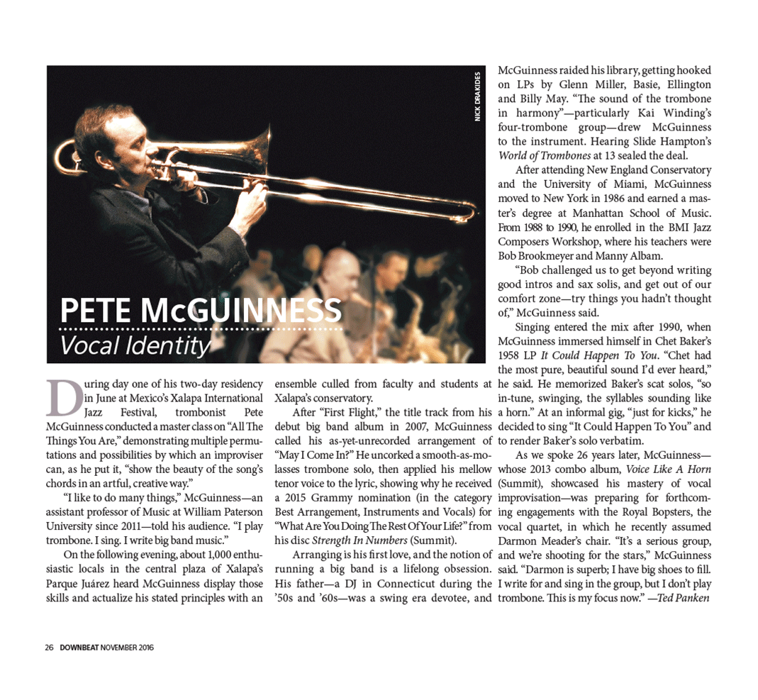 Professor Pete McGuinness in Down Beat Magazine