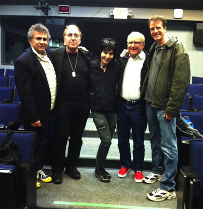 WP faculty member Steve Leeds, composer/producer/manager Kenny Laguna, rock legend Joan Jett, Director of the Music Management Program Dr. Steve Marcone, WP faculty member David Philp